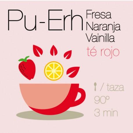 Té rojo Pu-Erh con Fresa, Naranja y Vainilla